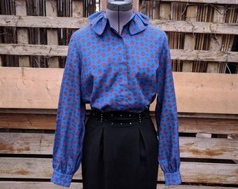 Vintage 1980's Blue Paisley Blouse 100% Georgette Polyester with High Neck Ruffle