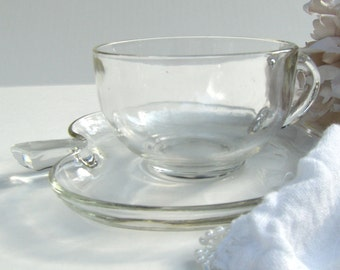Hazel Atlas Orchard Tea Cup & Saucer Vintage Clear Apple Teacher Gift Teacup Set