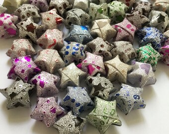 Origami Lucky Stars | Paper Stars | Diamond Shiny Bling Bling Handmade Wishing Star | Craft Thanksgiving Christmas Decoration Confetti ST02