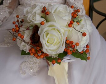 Bride Round Wedding Bouquet Orange White Ivory Roses and Berries 12 Piece Set