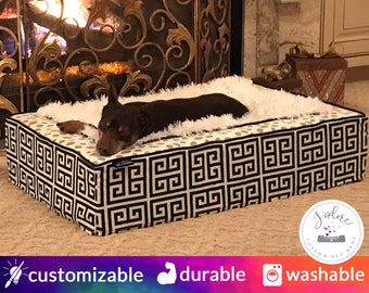 Luxurious Dog Bed or Luxury Cat Bed | Custom, Choose Fabrics | Soft, Cozy, Comfy, Blanket | Name Embroidery, Washable