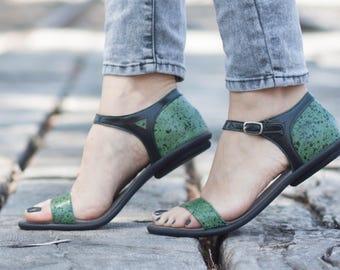 Cuir vert, sandales en cuir imprimé, sandales d'été chaussures, ballerines en cuir, livraison gratuite