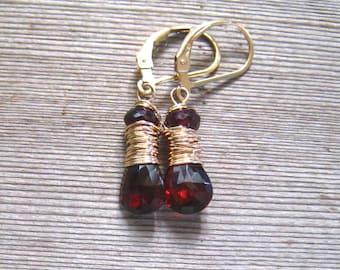 14K Garnet Earrings,  AAA Mozambique Garnet,  Burgandy Stone Dangle Earrings, 14K Gold Filled,  January Birthstone Jewelry
