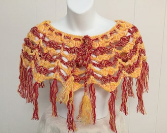 Short Style Poncho in Red, Yellow & Orange Colors with Fringed Edge and Tie-Up - One Size fits Most