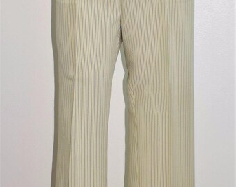 "Vintage 70's Men's NOS NWT HABAND Pastel Striped Poly Pants Trousers 35"" x 34"""