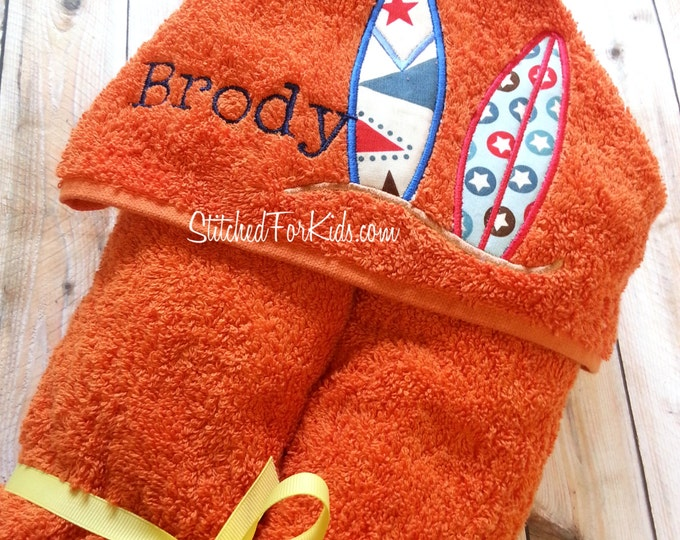 Personalized  Hooded Towel with Surfboards, Beach Towel, Surfing Towel