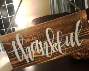 Thankful Hand Painted Wooden Sign