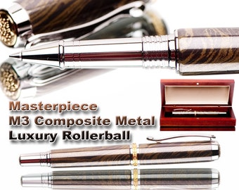 Handcrafted Pen  M3 metal Rollerball Pen  top of the line  Gunsmoke color  executive gift  M3 metal composite fine writing instrument