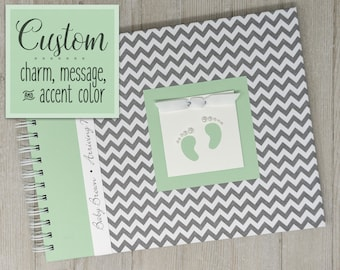 Pregnancy Journal | Gender Neutral | Pregnancy Gift | Pregnancy Book | Gray Chevron + Green