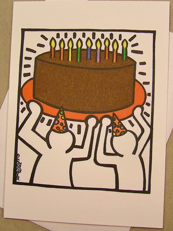 Keith haring style birthday card a big cake regular size like this item bookmarktalkfo Gallery