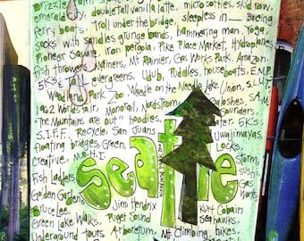 SEATTLE ART, Seattle Washington, Pacific Northwest Gift, Washington State, Emerald City, Seattle Gift, Wall Art by Seattle Artist Mary Klump