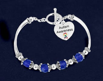 12 Heart Autism Awareness Partial Beaded Bracelets (12 Autism Bracelets) (BL-129-2AU)