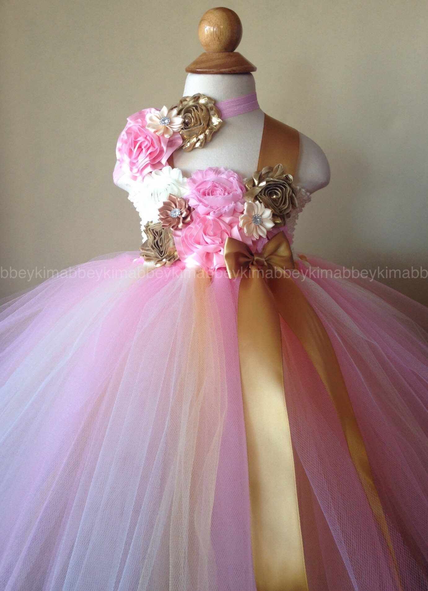Beautiful baby girl first birthday tutu dress in pinkivory