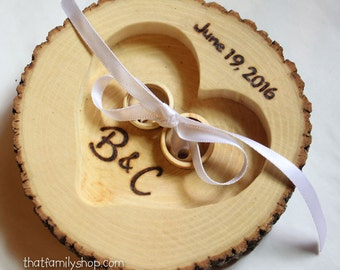 Tree Bark Log Ring Bearer Pillow Alternative with Personalized Name, Initials, Date Wedding Decor