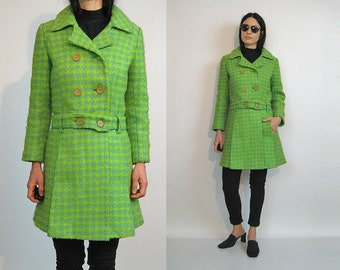 60s Chartreuse + Sage Houndstooth Wool Peacoat / Vintage 1960s Green Dogstooth Coat / 60s Mod Tweed Wool Double Breasted Coat