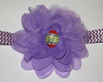 4 in. Purple Easter Egg Chiffon Flower Boutique Chevron Headband (13.5 inches Normally Fits NB-6M)