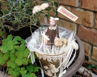 Easter Sale - Shabby Chic Altered Peat Pot for Spring Decorating/Basket/Gift