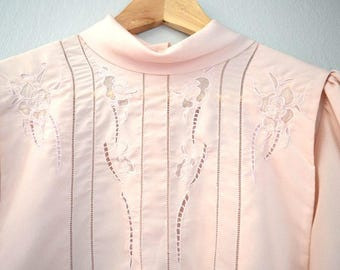 Vintage Pale Pink Embroidered Nancy Johnson Blouse
