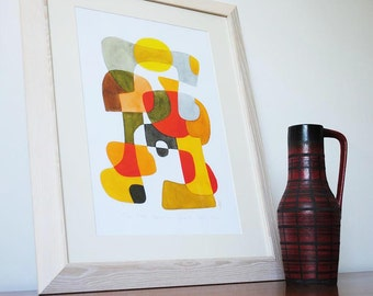 Modern Art Print Poster 'Happy' Mid Century Modern Home Decor yellow red brown gray black 11 x 16
