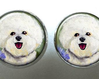 Bichon Frise Ohrringe ~ niedliche Ohrringe ~ Hund Ohrringe ~ April Birthday ~ Silber Beitrag Ohrringe ~ Lehrer-Geschenk