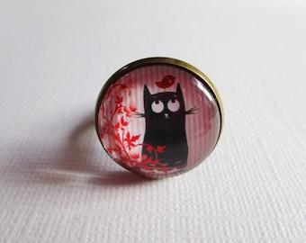 """""""Cute cat"""", bronze cabochon, costume jewelry ring"""