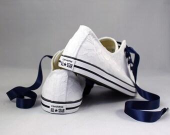 Bridal Converses --White Lace Converse Navy-- Wedding Tennis shoes  - Wedding Converse