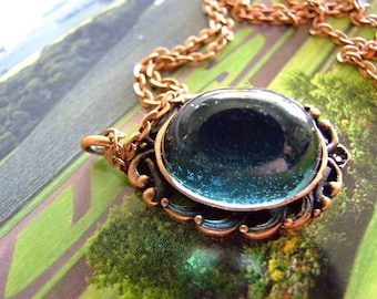 Steam punk Gothic High Dome German  blue glass mystical pendant on copper chain, cabochon pendant, sparkle, glitter, bohemian, gypsy