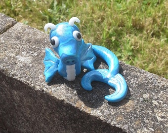 Blue, green, swirled, marbled, shimmer, sparkle, sea dragon, polymer clay, model