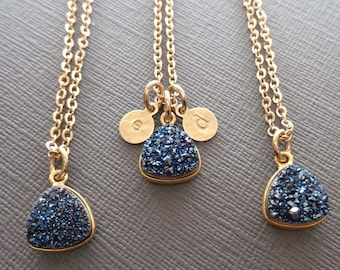 Druzy Necklace - Blue Triangle Druzy Gold Initial - Gold and Blue Jewelry - Personalized Initial -Dark Blue Wedding- Blue Bridesmaid -G3