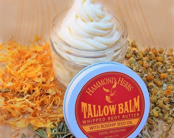 Whipped Tallow Balm - 100% Grass Fed - Body Balm - With Rosehip Seed Oil