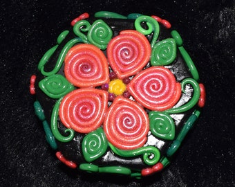 Orange and Magenta Double Flower Polymer Clay Decorated Hexagon Box