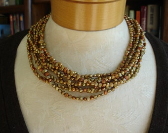 Vintage Gold Pearl Eight-Strand multi-strand Freshwater Pearl and Sterling silver Torsade Necklace  - 17.5 inches with 2 inch extension