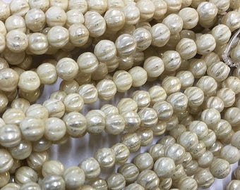 Melon Beads Ivory with Mercury-Look Finish Czech Pressed Glass Round Beads 4mm 50 beads