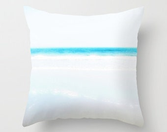 Photo Pillow Cover Decorative Ocean Beach Blue Turquoise 16x16