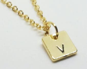 Gold Hand Stamed Inital Necklace