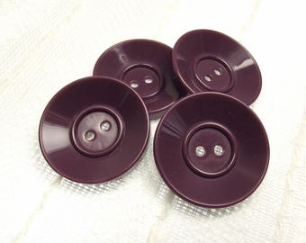 "Mellow Mulberry: Large 1-3/16"" (31mm) Purple Buttons - Set of 4 Matching Buttons"
