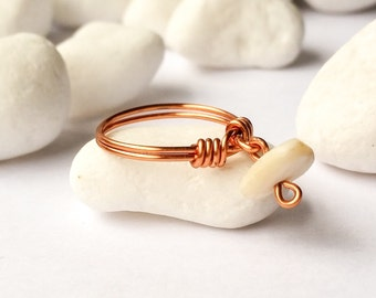 Ring with dangle, Dangle ring,  Mother of pearl ring, Wire wrapped ring, White stone ring, Copper ring, White ring, Copper wire ring, Gift