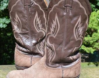 Vintage Tony Lama #6256 Exotic Bullhide Leather Riding Biker Cowboy Western, Size 9 Women or 7.5 Men
