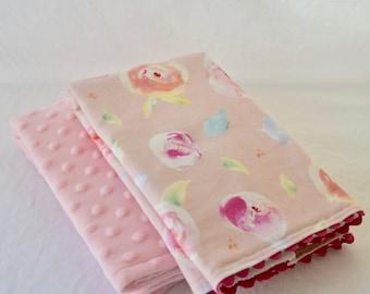 Pink Rosebud Burp Cloth Set - Pink Minky Dot Burp Cloth Set - Girl's Pink Rosebud Dribble Bib - Baby Girl Shower Gift - Pink Burp Cloths