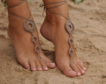 Crochet Tan Barefoot Sandals, Brown Nude shoes,Wedding foot jewelry,Sexy accessories, Yoga Anklet , Bellydance, Steampunk, Beach accessorie