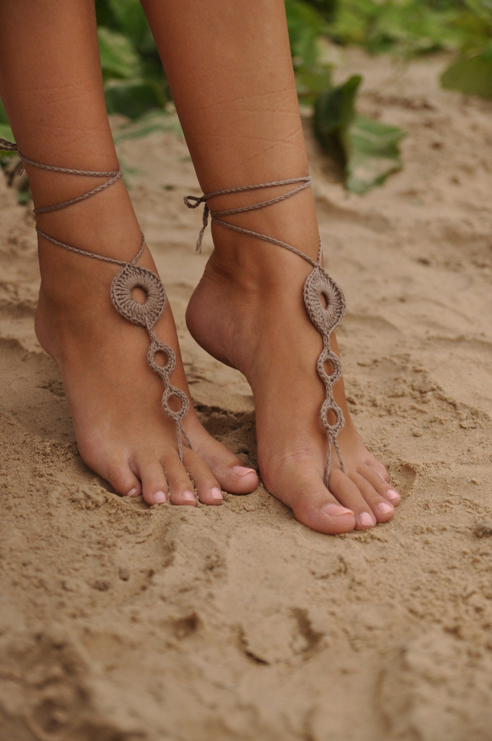crochet barefoot sandals brown nude shoes wedding foot