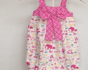 Baby bubble romper size 1 pink zoo animal print