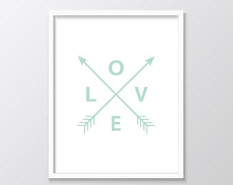 Mint Nursery Print, Love Arrows Printable Art, Mint Arrows, Mint Printable Art, Mint Print, Love Arrows Print, Digital Print, Wall Art