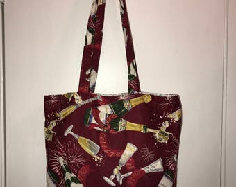 "Champagne Celebrations  w/ matching  handles cotton fabric handmade 16"" Tote Bag"