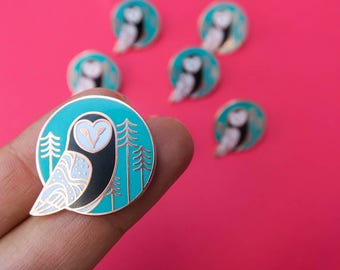 Barn Owl Copper Enamel Pin  (hard enamel pin climate change environment owl pin lapel pin badge political pin backpack)