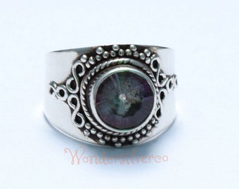 Mystic Topaz Ring, Multicolored Mystic sterling silver ring, Topaz Solid silver ring Jewelry