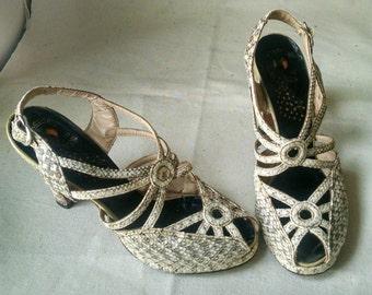 Amazing 40s Snakeskin Peep-toe Platform Shoes Heels 6