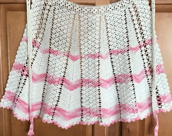 Handmade Vintage Crochet Keepsake Pink and White Apron