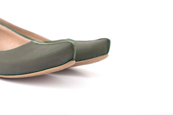 shipping shoes Women's leather flats KILAV free flats woman ADI pointed toe pointy handmade green loafers Cffqw7d