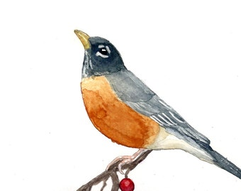 Watercolor Robin Print 5 x 7